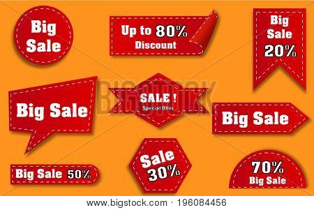 Collection of red discount and sale stickers
