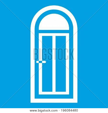 Arched wooden door with glass icon white isolated on blue background vector illustration