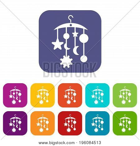 Baby bed carousel icons set vector illustration in flat style in colors red, blue, green, and other