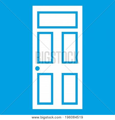Wooden door with glass icon white isolated on blue background vector illustration