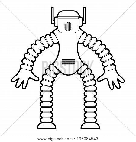 Robot monkey icon in outline style isolated on white vector illustration