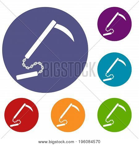 Kusarigama icons set in flat circle red, blue and green color for web