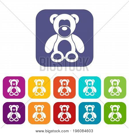 Teddy bear icons set vector illustration in flat style in colors red, blue, green, and other