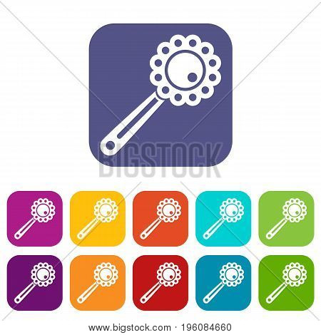 Baby rattle icons set vector illustration in flat style in colors red, blue, green, and other