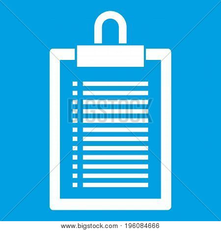 Document plan icon white isolated on blue background vector illustration
