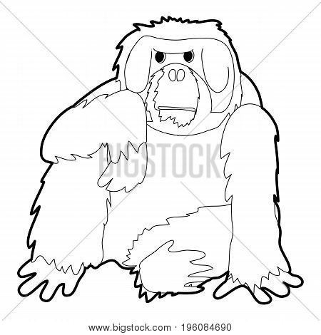 Orangutan icon in outline style isolated on white vector illustration
