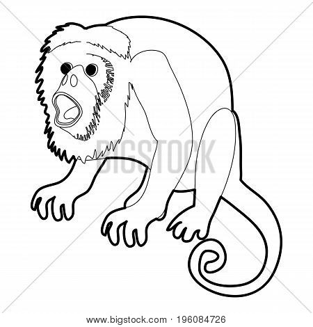 Surprised monkey icon in outline style isolated on white vector illustration