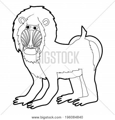 Mandrill icon in outline style isolated on white vector illustration