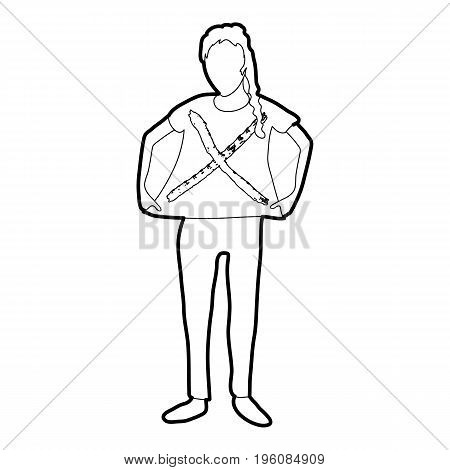 Woman protest icon in outline style isolated on white vector illustration