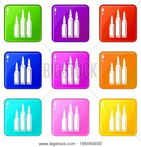 Bullet ammunition icons of 9 color set isolated vector illustration