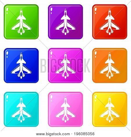 Military fighter jet icons of 9 color set isolated vector illustration