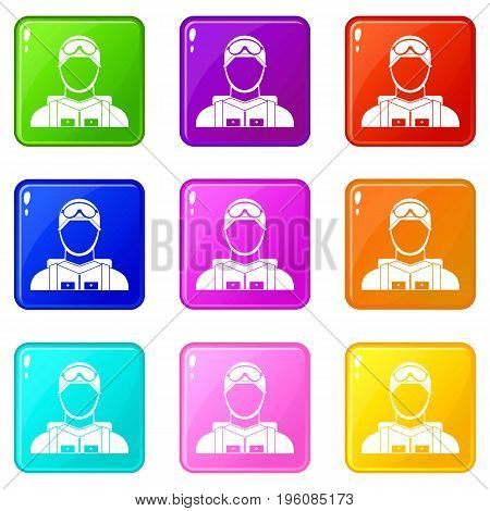 Military paratrooper icons of 9 color set isolated vector illustration