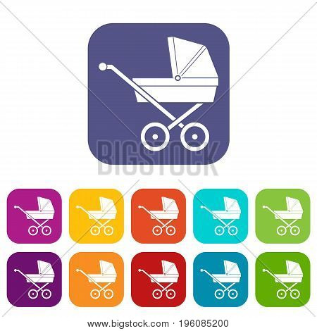 Baby carriage icons set vector illustration in flat style in colors red, blue, green, and other