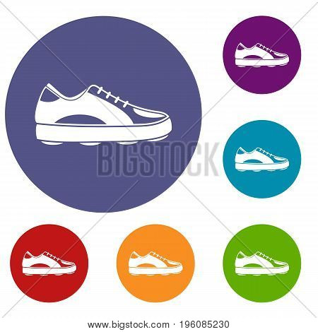 Golf shoe icons set in flat circle red, blue and green color for web