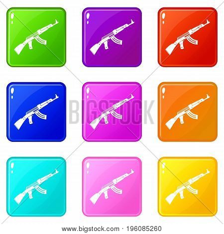 Submachine gun icons of 9 color set isolated vector illustration