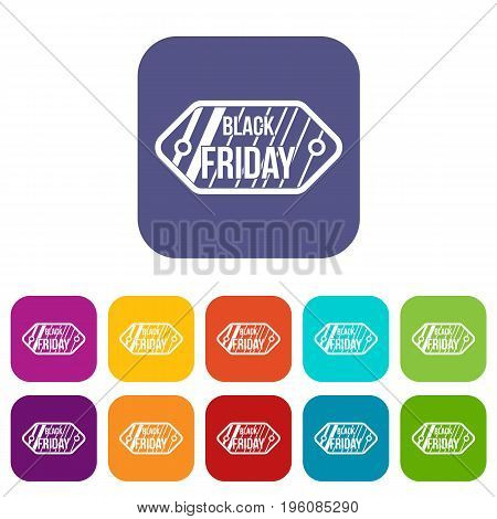 Black Friday sale tag icons set vector illustration in flat style in colors red, blue, green, and other
