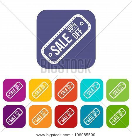 Sale tag 30 percent off icons set vector illustration in flat style in colors red, blue, green, and other