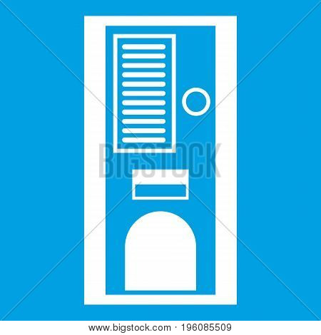 Coffee vending machine icon white isolated on blue background vector illustration