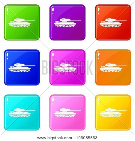 Tank icons of 9 color set isolated vector illustration