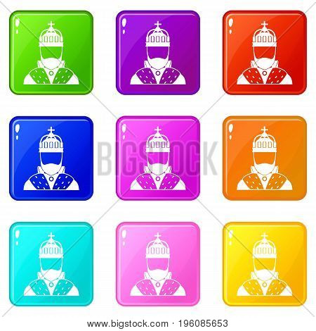 King icons of 9 color set isolated vector illustration