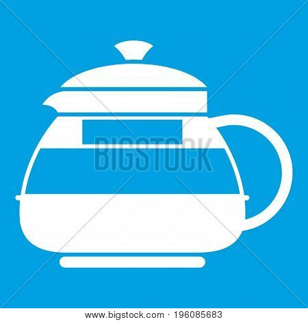 Glass teapot icon white isolated on blue background vector illustration