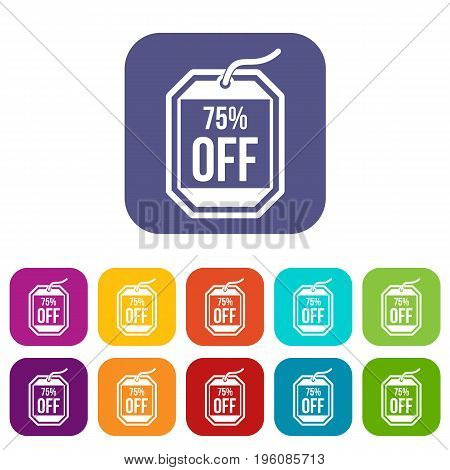 Sale tag 75 percent off icons set vector illustration in flat style in colors red, blue, green, and other