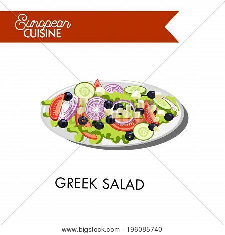 Fresh Greek salad from european cuisine vector illustration. Dish that consists of ripe tomatoes, tasty cucumbers, sweet onions, Bulgarian pepper, cheese Feta, black olives, and lettuce leaves.