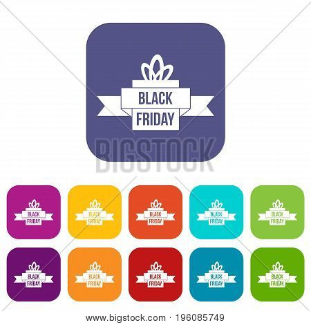 Black friday ribbon icons set vector illustration in flat style in colors red, blue, green, and other