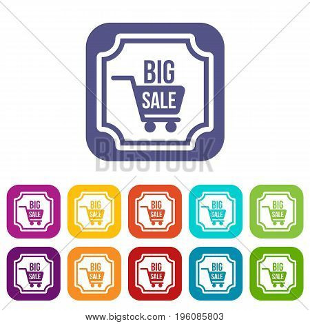 Big sale sticker icons set vector illustration in flat style in colors red, blue, green, and other