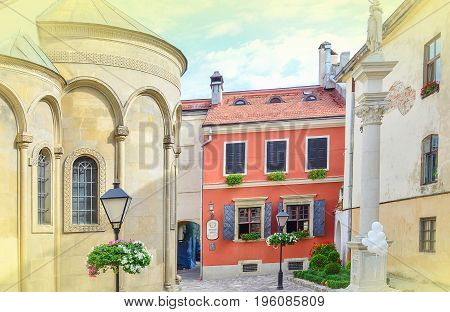 Lviv,Ukraine - JULY 11, 2017: Cityscape of Lviv. Medieval architecture of the Central European cities. Old European city Lviv. Cobbled Lviv street with tram tracks