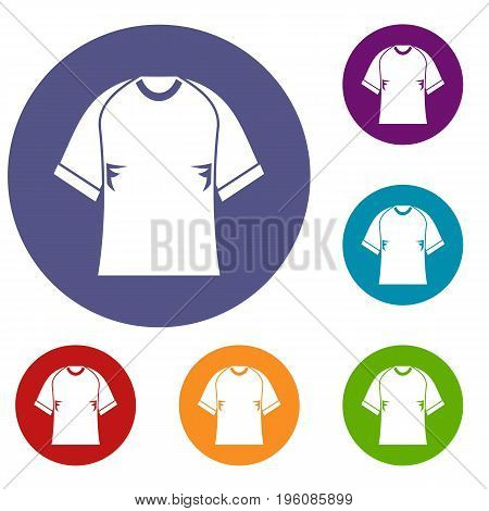 Raglan tshirt icons set in flat circle red, blue and green color for web