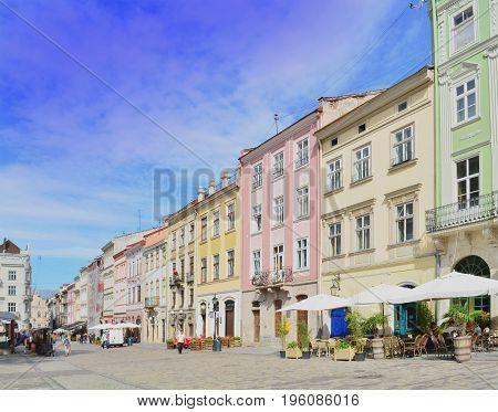 Lviv, Ukraine - July 11, 2017: Old town of Lviv. Morning Lviv city in the sunlight. Historic center of Lviv