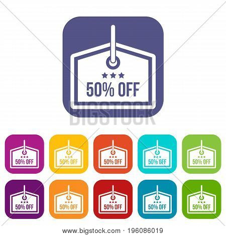 Sale tag 50 percent off icons set vector illustration in flat style in colors red, blue, green, and other