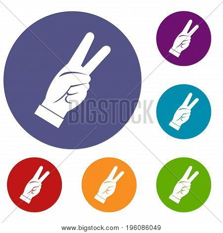Hand showing victory sign icons set in flat circle red, blue and green color for web