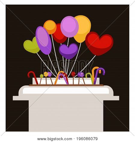 Big stand with colorful balloons of simple round, prolonged oval and heart shape, and sweet lollipops in form of cane and round candy isolated cartoon vector illustration on black background.