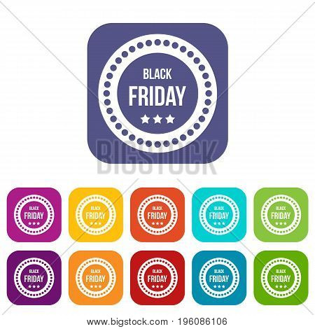 Black Friday sticker icons set vector illustration in flat style in colors red, blue, green, and other