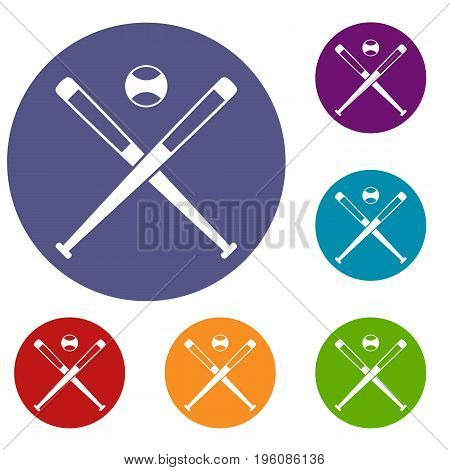 Crossed baseball bats and ball icons set in flat circle red, blue and green color for web