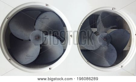 Old fan air compressor and business concepts on factory