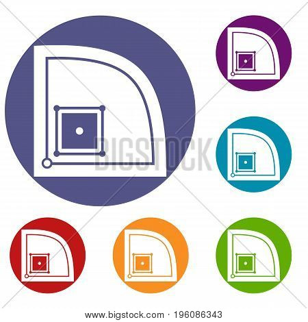 Baseball field icons set in flat circle red, blue and green color for web