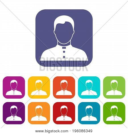 Pastor icons set vector illustration in flat style in colors red, blue, green, and other