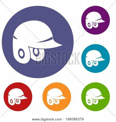 Baseball helmet icons set in flat circle red, blue and green color for web