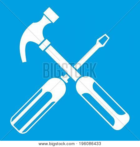 Hammer and screwdriver icon white isolated on blue background vector illustration