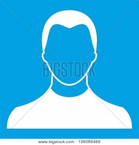 User icon white isolated on blue background vector illustration