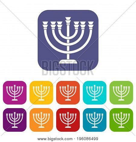 Menorah icons set vector illustration in flat style in colors red, blue, green, and other