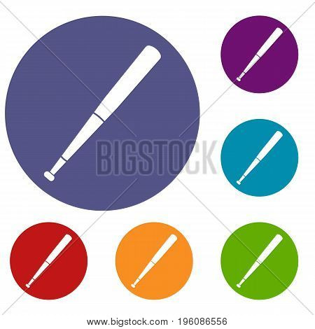 Black baseball bat icons set in flat circle red, blue and green color for web