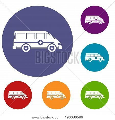 Ambulance emergency van icons set in flat circle red, blue and green color for web