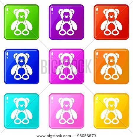 Teddy bear icons of 9 color set isolated vector illustration