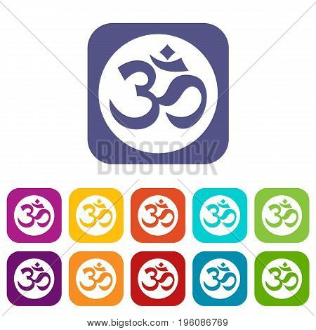 Symbol Aum icons set vector illustration in flat style in colors red, blue, green, and other