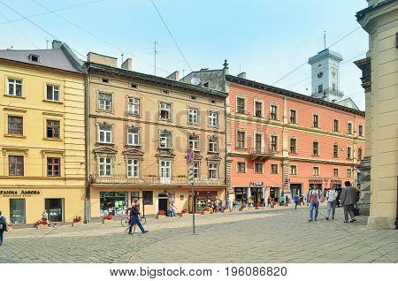 Lviv, Ukraine - July 11, 2017: Morning  Lviv city in the sunlight. Old town of Lviv. Historic center of Lviv