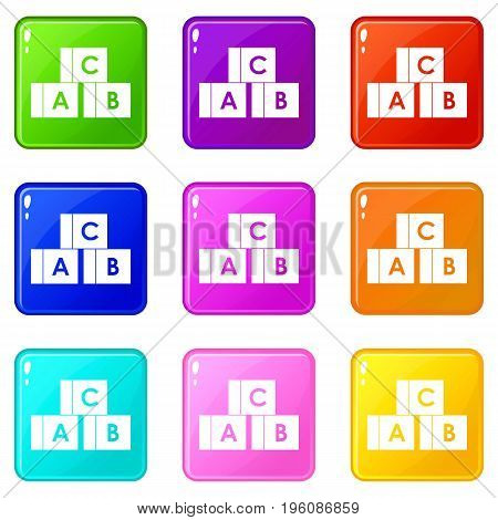 Alphabet cubes with letters A, B, C icons of 9 color set isolated vector illustration